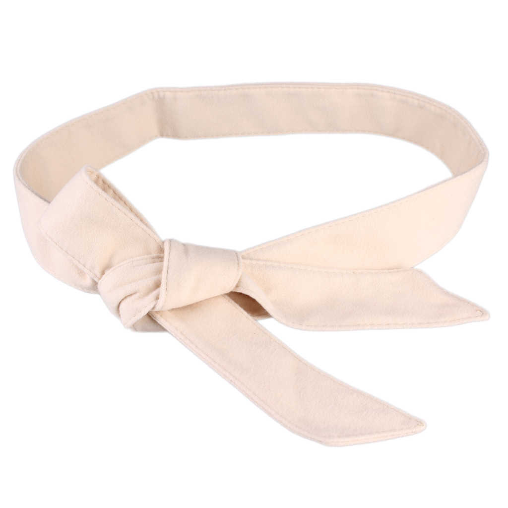 Classic Velvet Waist Belt Tie Bow Cummerbunds Fashion Belt for Women Female Wide Waistband Waist Belt for Woolen Overcoat 172cm