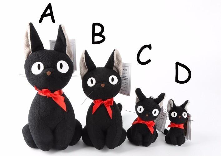 Brinquedo de pelúcia preto da boneca de jiji de kiki kawaii gato preto kiki brinquedo animal de pelúcia para o miúdo