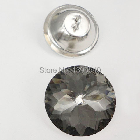 New 30mm Bauhinia Crystal Glass Buttons Sofa Industry Decoration Fileds  Soft Grey Crystal Button KTV Wall