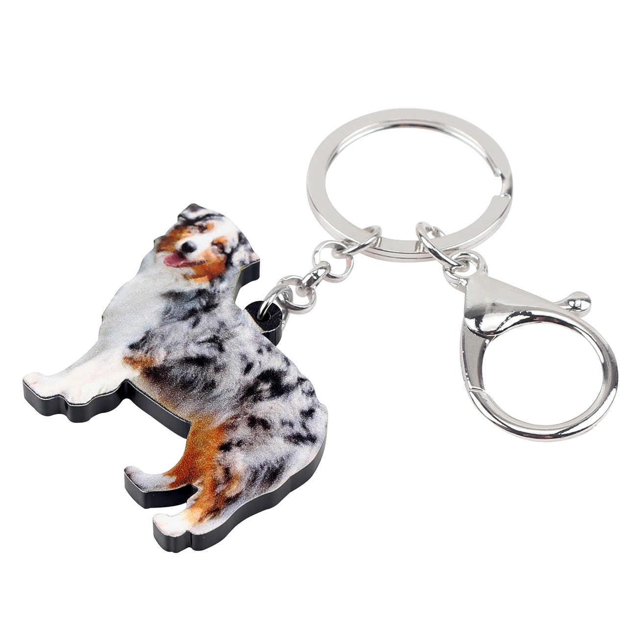 WEVENI Acrylic Úc Chó Chăn Cừu Dây Đeo Chìa Khóa Móc Khóa Chủ Động Vật Trang Sức Cho Phụ Nữ Cô Gái Túi Ví Xe Quyến Rũ Mặt Dây Chuyền