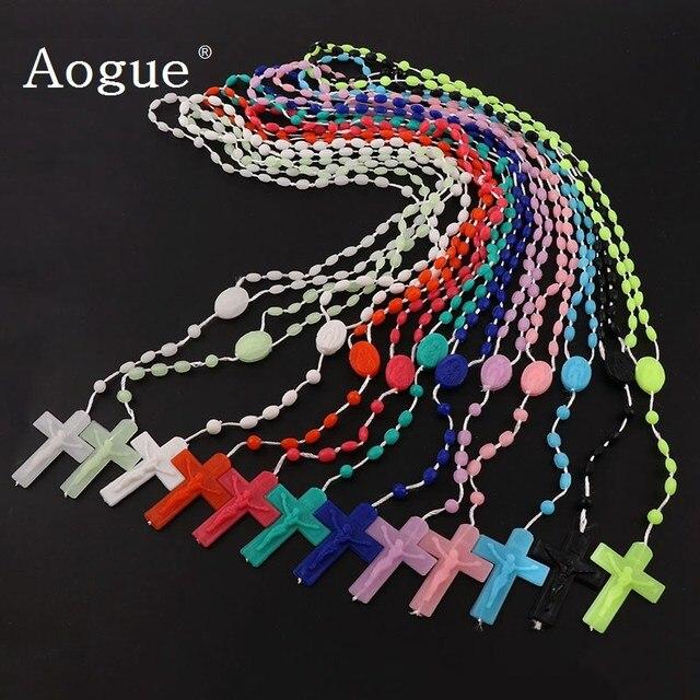 12 Pieces Factory Multicolor Rosaries low in Dark Plastic Rosary Beads Luminous