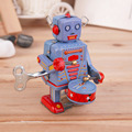 Vintage Metal Tin Drumming Robot Clockwork Wind Up Tin Toy Collectible Hot Selling