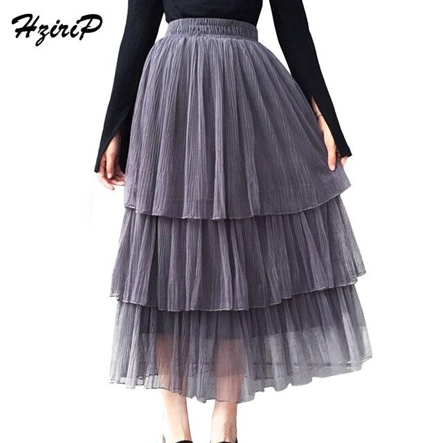Hzirip plisado Maxi tulle Faldas para mujer 2018 nuevo otoño Primavera  Verano elegante tres capas de 3d8af19fa189