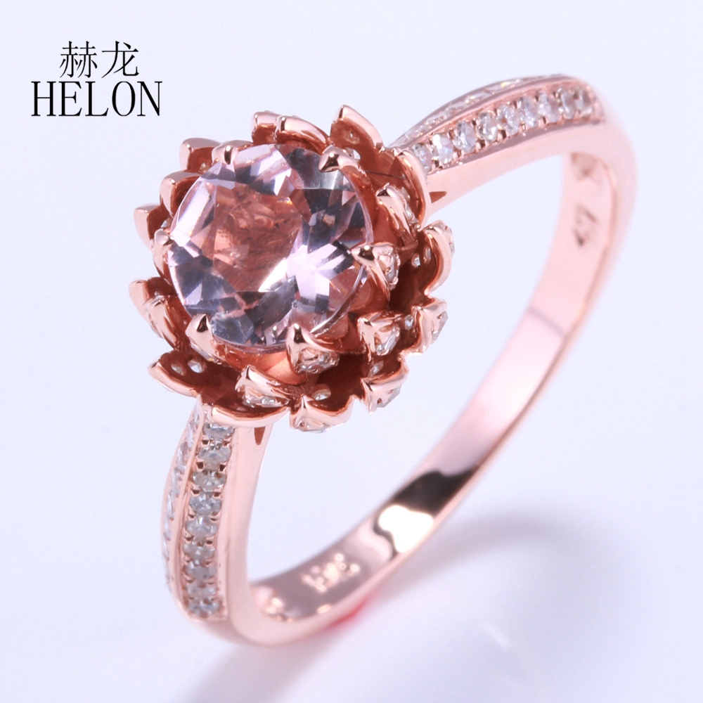 HÉLON Solide 14 k Rose Or Impeccable 6mm Round Cut 0.75ct Morganite 0.41ct Naturel Diamant Anneau De Mariage Fleur De Lotus femmes Bijoux
