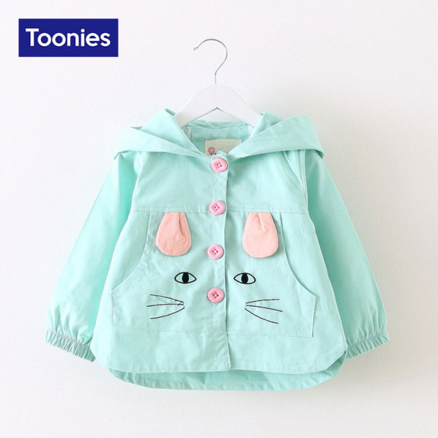 Cute Cat Piraffe Cartoon Print Hoody Infant Baby Girls Jacket Coats Spring Autumn Fashion Girls Clothing Pink 3 Color Jackets
