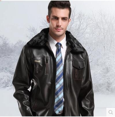 men leather jacket jaqueta de couro masculino fur coat middle-aged leather PU jacket coat stand collar size male 6XL