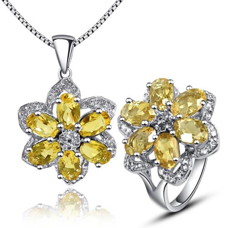 Luxueux pendentif pierre précieuse et bague ensemble naturel citrine cristal solide 925 argent jaune citrine pierre bijoux ensemble cadeau romantique