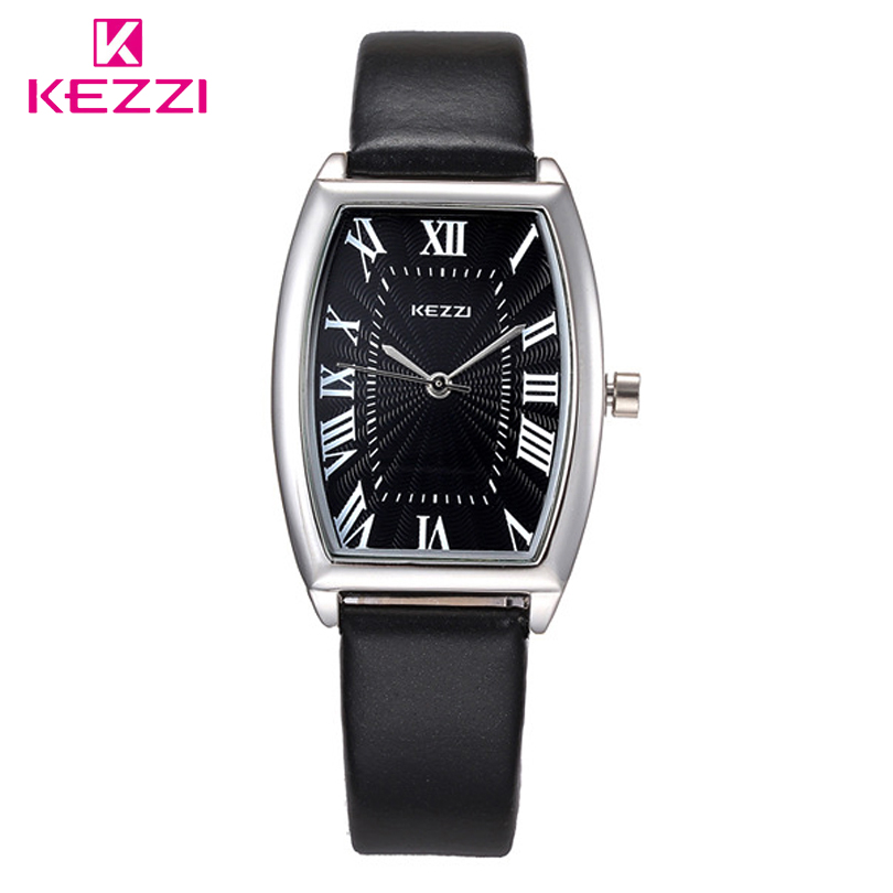 KEZZI Brand Fashion Roman Numerals Women's Dress Women Watch Gift Girl Quartz Watches Square Dial Analog Leather Band Wristwatch cheap fashion glitter dial clock watch women casual pu leather analog quartz watch roman numerals dress watches wristwatch