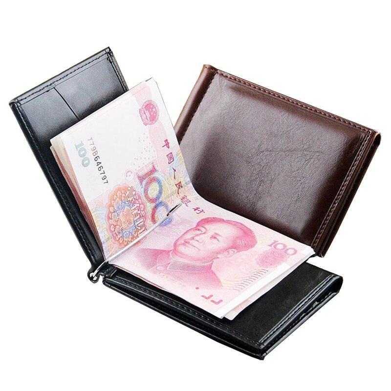 Gran oferta de moda de cuero de los hombres billetera con clip para billetes con imán Hasp tarjeta de crédito en efectivo de negocios corto bolso de diseñador para hombre