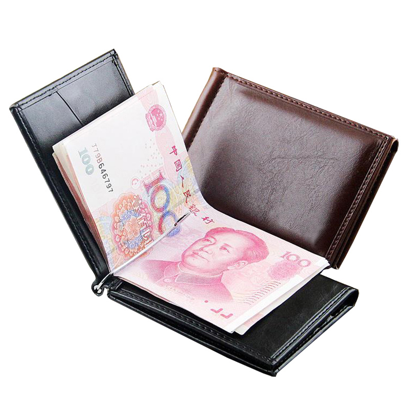 Hot Sale Fashion Men's Leather Money Clip Wallet With Magnet Hasp Credit Card Cash Holder Business Short Designer Purse For Male