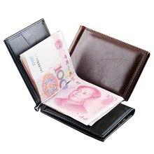 Billetera con Clip para billetes de cuero para hombre, billetera con cierre magnético, tarjetero de crédito, monedero de diseño corto para negocios, gran oferta