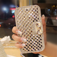Voor Samsung S4 S5 S6 S7 edge S8 Plus Note 3 4 5 Luxe fashion Crystal rhinestone Zijde PU lederen Mobiele telefoon holsters Hard tassen