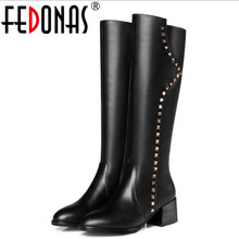 FEDONAS New Zipper Design Genuine Leather Square Heel Boots Women Knee High Boots Shoes Woman Rivets Punk Long Motorcycle Boots
