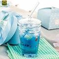 Прозрачная Милая портативная стеклянная бутылка для воды  прозрачные чашки для чая  спортивные стеклянные кружки-банки для напитков  Garrafa De ...