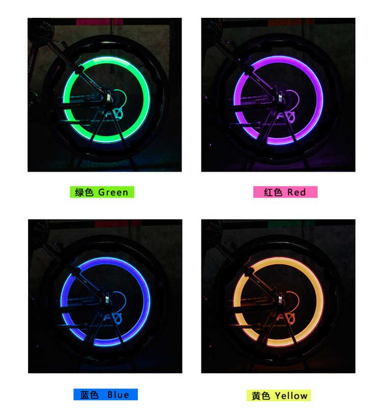 Lumière de vélo sans batterie route de montagne vélo lumières LED S pneu pneu Valve bouchons roue rayons lumière LED