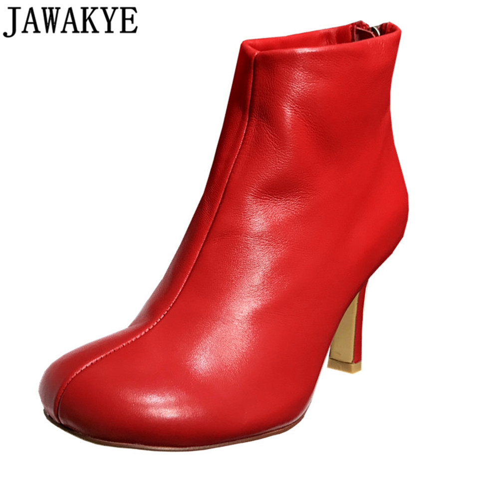 JAWAKYE 2018 black red top quality leather Short Boots high heels runway style shoes women round