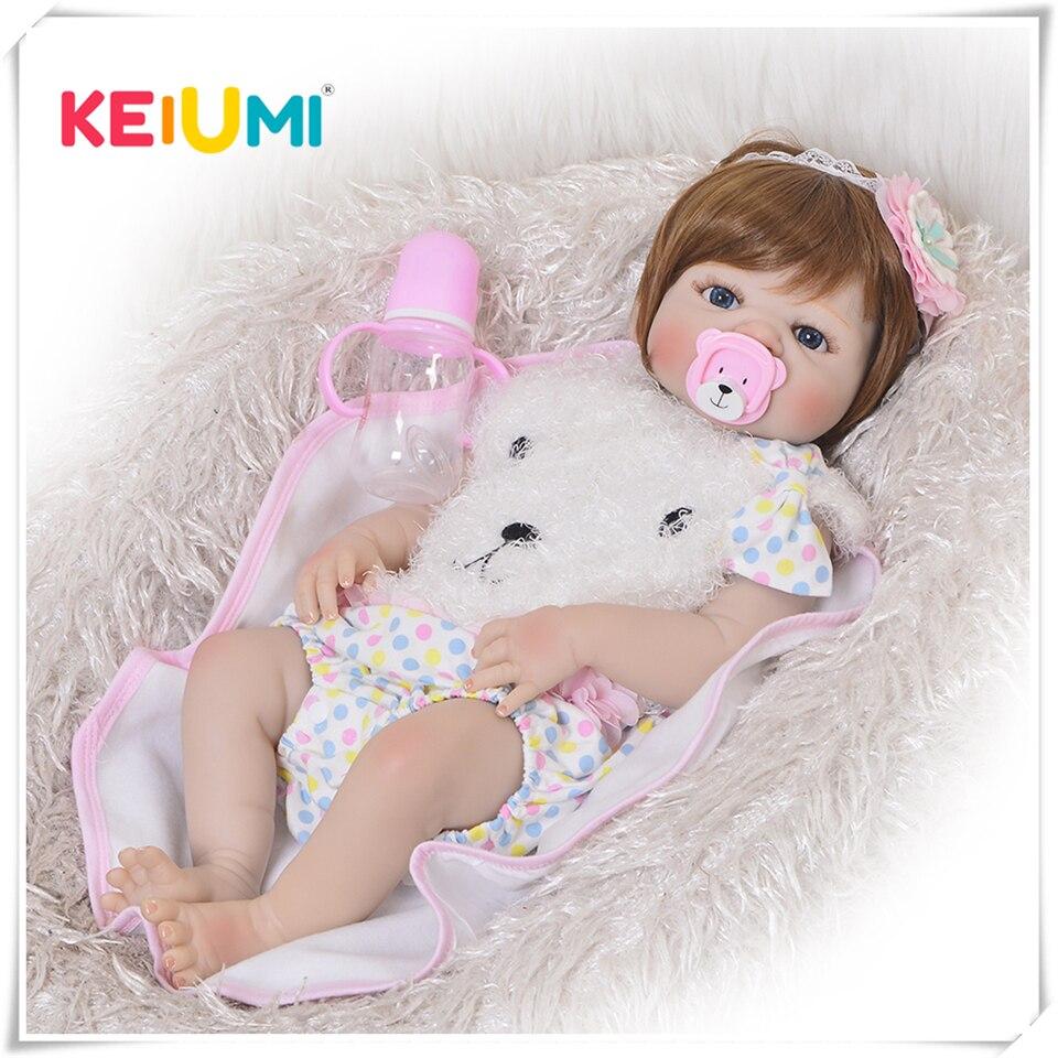 KEIUMI 23 Zoll Reborn Baby Mädchen Puppe Volle Silikon Vinyl Baby Reborn Realistische Prinzessin Baby Spielzeug Puppe Für kinder tag Geschenke