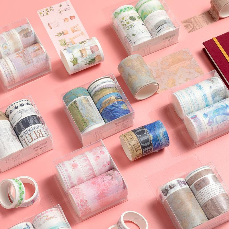 10Pcs/Lot Series Decor Washi Tape  Set Bullet Journal Notebook Scrapbook DIY Masking Tape Learning Stationery Kwaii Supplies