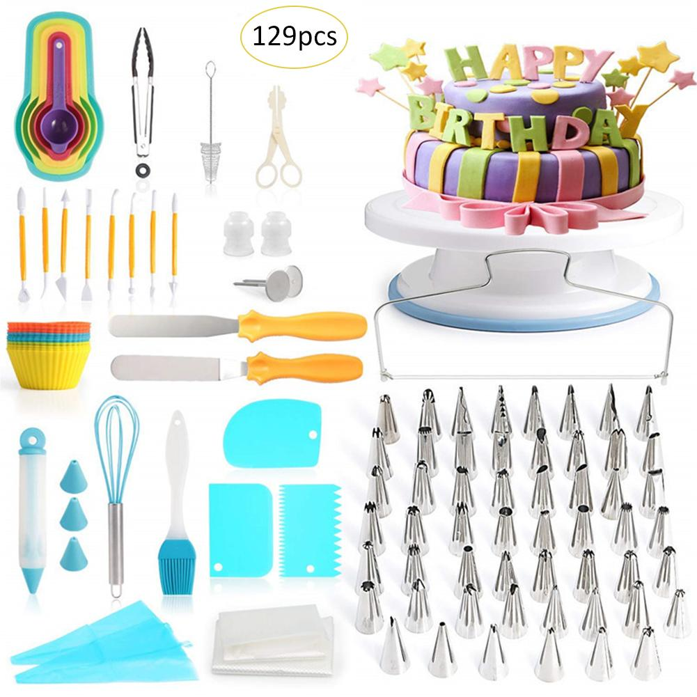 129 pièce gâteau décoration fournitures ensemble pâtisserie buses tourne-disque pointe de tuyauterie buse pâtisserie sac ensemble bricolage gâteau cuisson outil
