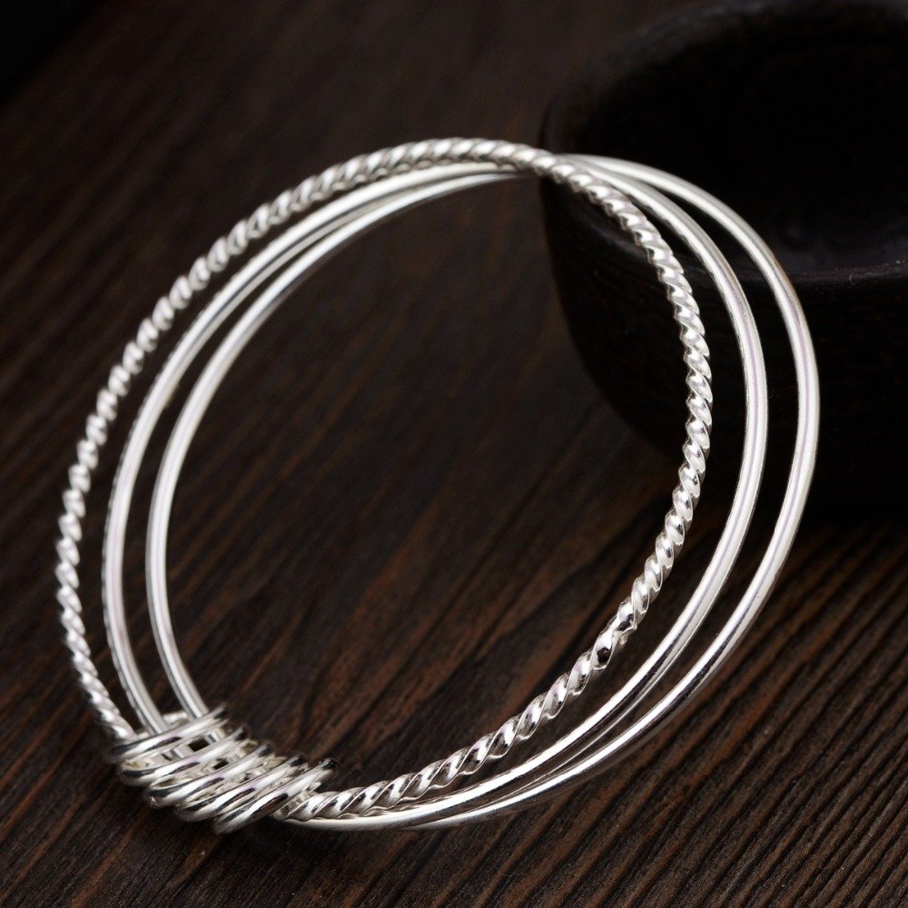 Sterling silver three - ring bracelet S925 sterling silver style silver wholesale new female gift wedding jewelry accessories.Sterling silver three - ring bracelet S925 sterling silver style silver wholesale new female gift wedding jewelry accessories.