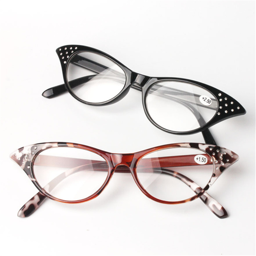 Cat Eye Reading Glasses Women Presbyopic Slim Eyeglasses Spectacles With Spring Hinge reading glasses1.5 2.0 2.5 3.0 3.5 Diopter