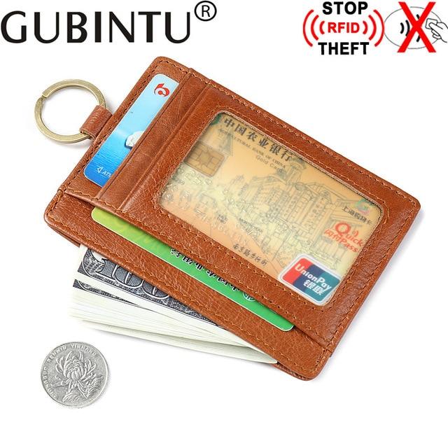 Gubintu brand Genuine cow leather card holder Men RFID Blocking credit card bag vintage business card case wallet JM-01167