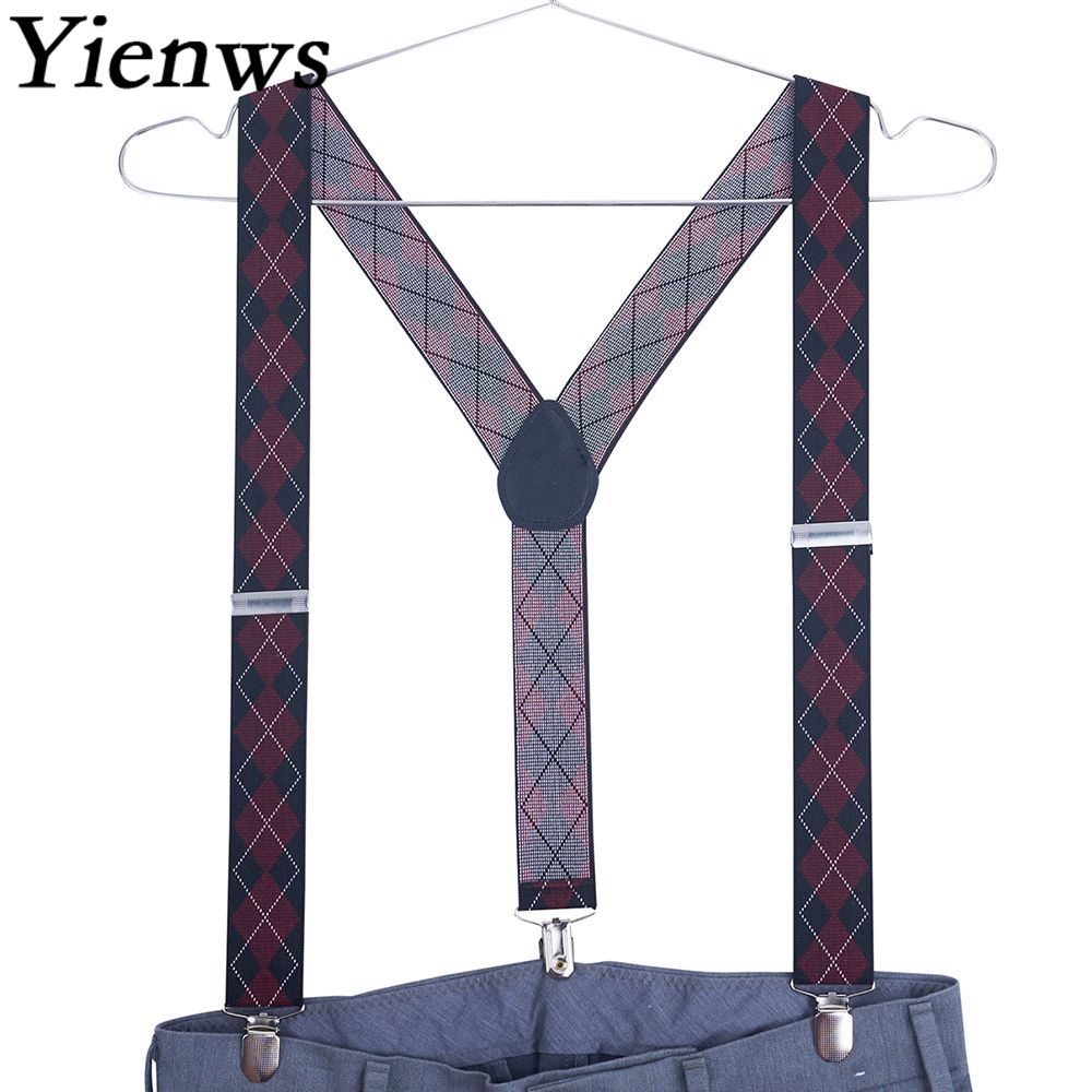 Yienws Suspensorio Mens Suspenders Y-back 3 Clip Jacquard Suspenders Male Button Pants Braces Wide 3.5*105cm Tirantes YiA107