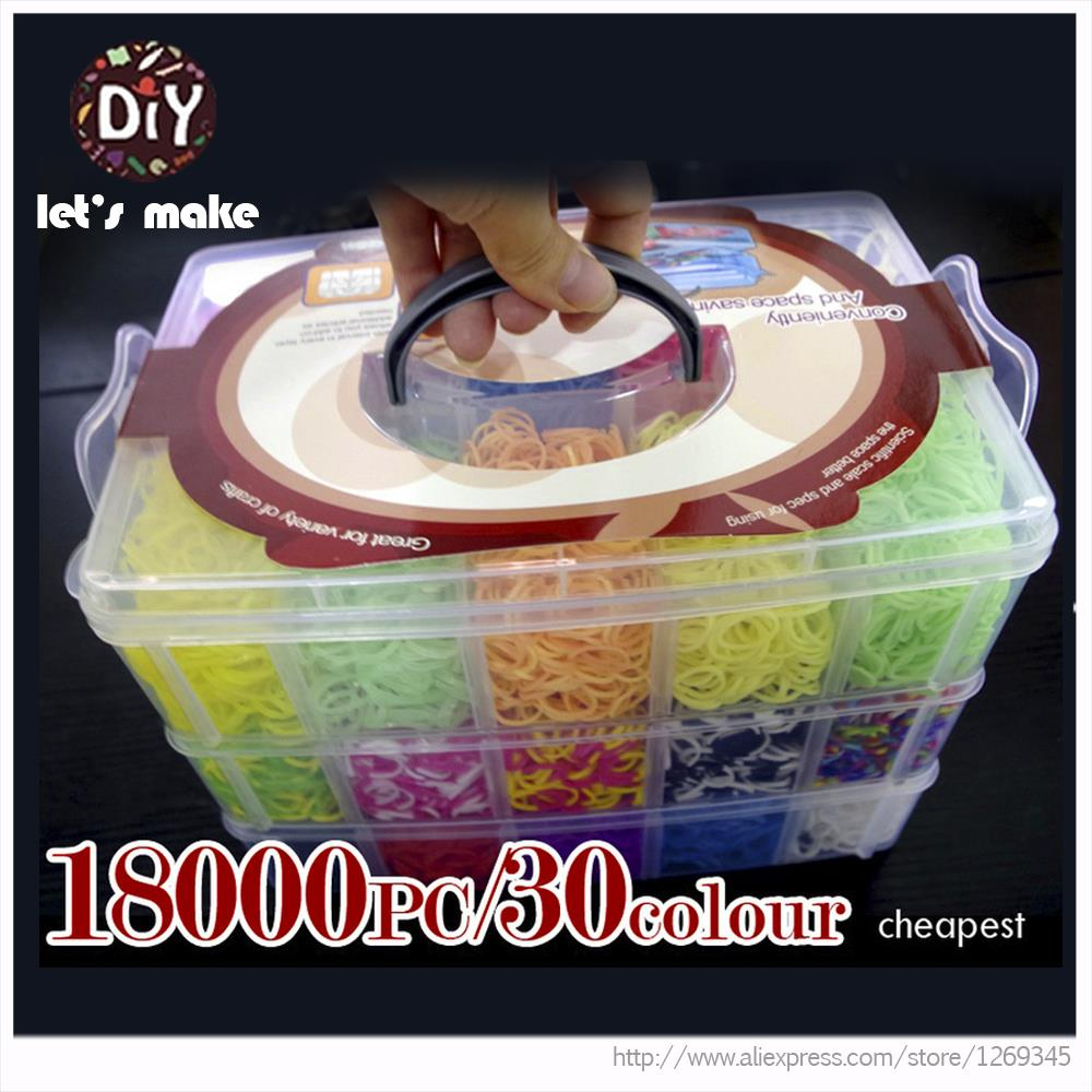 18000pcs High Quality Rubber Fun Loom Band Kit Kids DIY Bracelet Silicone LoomsBands 3 Layer PVC