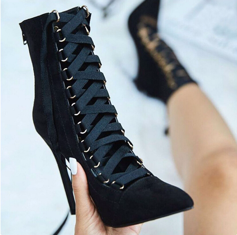 QWEDF 12cm 2019 New Large Size High Heels Female Fine With Pointed Cross Straps Bare Boots Women Ankle Boots SE 87