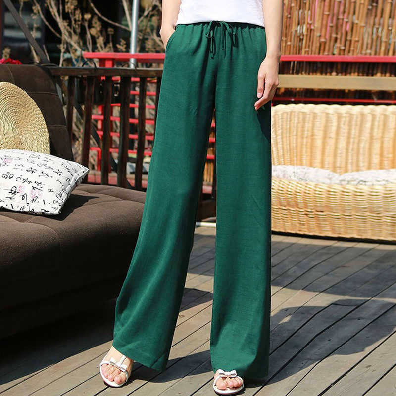 Spring Summer Casual Womens Elastic High Waist Wide Leg Green Black White Loose  Trousers , Korean 2019 Fall Female Woman Pants