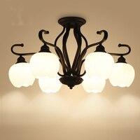Американский Железный стеклянный персональный светодиодный потолочный светильник лампа с плафоном для дома, гостиной, потолочный светиль