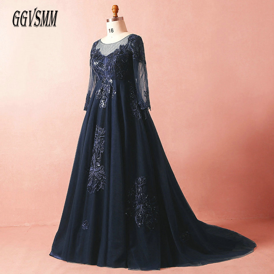 Formal Dark Navy Plus Size Long Evening Dresses 2019 Evening Party Gowns Scoop Tulle Appliques Lace Up Sexy Women Dress Prom New