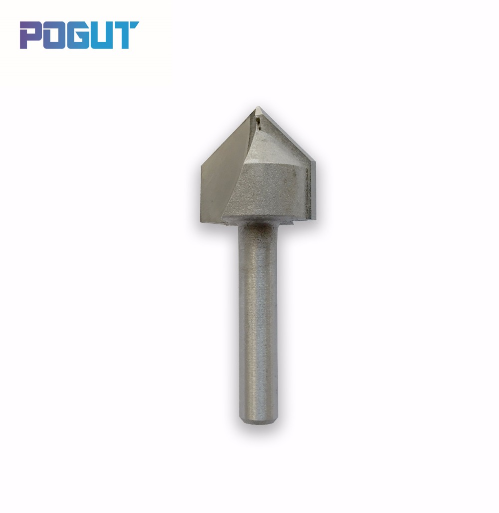 90 Degree V Type Wood Milling Cutter 1/4 inch Shank 1/2 inch Diameter Router Bit Wood Cutter Carbide Cutting Tools high grade carbide alloy 1 2 shank 2 1 4 dia bottom cleaning router bit woodworking milling cutter for mdf wood 55mm mayitr