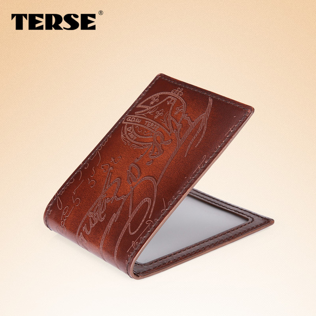 TERSE_China factory manufacturer license card wallet handmade real leather card holder luxury brand high quality custom logo OEM