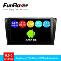 FUNROVER 2 ГБ + 32 ГБ, android 9,0 автомобиль радио мультимедиа плеер для mazda 3 mazda3 2004 2009 магнитофон Автомобильная dvd навигационная система стерео