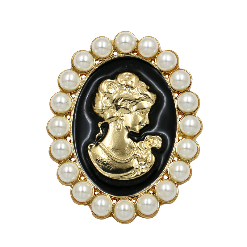 baiduqiandu Factory Direct Sale Vintage Black and White Enamel Cameo Brooches for Women Coat Dress Jewelry Accessories Gifts