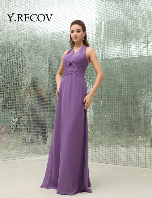 robes de soiree 2017 longue YD2216 A line Halter Purple Formal ...