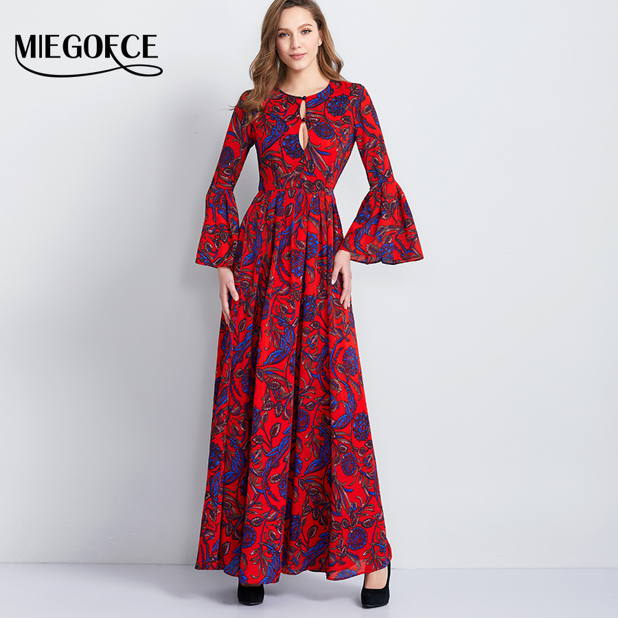 New Summer Collection MIEGOFCE Woman's Long Dress Round Neck Boho Beach Holiday Office Casual Dress High Hot