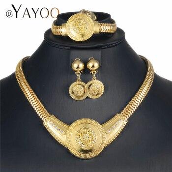 f01c3ffab9c4 Dubai Color oro conjuntos de joyas para mujeres nigeriano boda Africana  cuentas conjunto de joyas de cristal de imitación collar de joyería de moda
