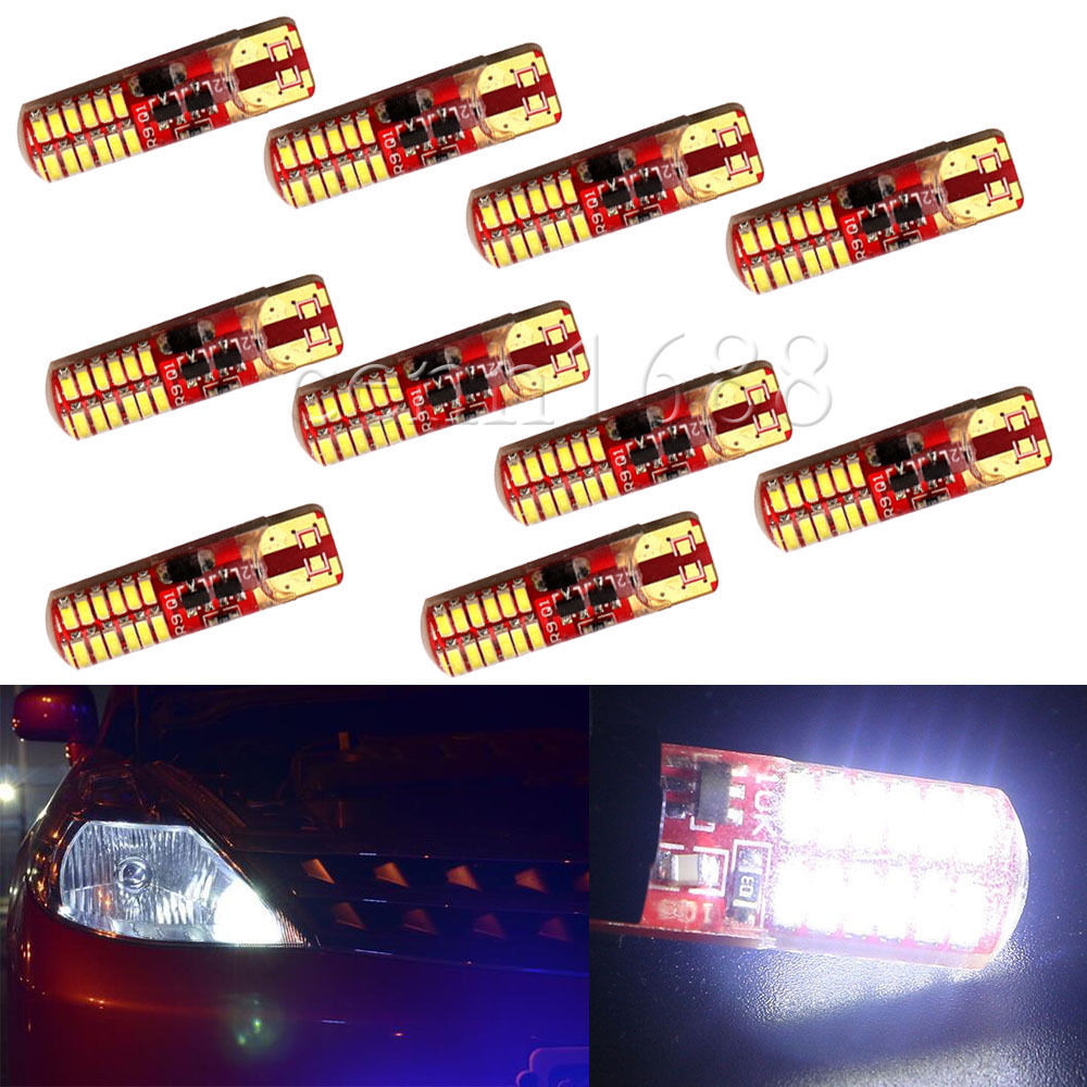 10X T10 W5W 194 168 3014 24 SMD Silica Gel Strobe Flash Light LED Bulbs 12V DC