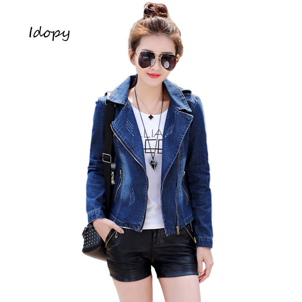 Idopy Womens Vintage Slim Fit Distressed Motorcycle Punk Style Notched Lapel Asymmetric Zipper Biker Jean Denim Jacket Coat Blue