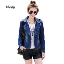 Idopy Womens Vintage Slim Fit Distressed Motorcycle Punk Style Notched Lapel Asymmetric Zipper Biker Jean Denim Jacket Coat Blue