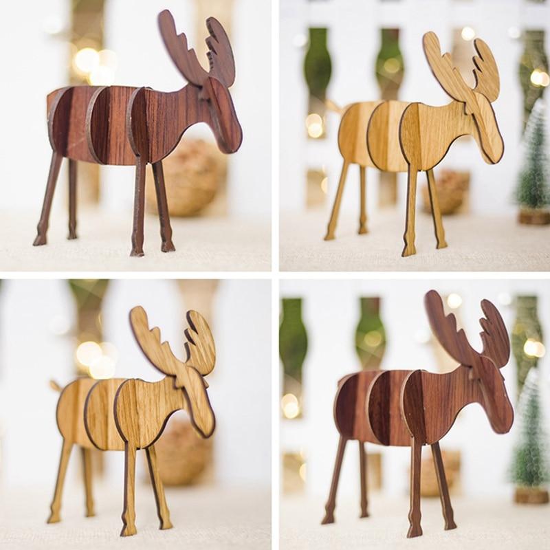 ZOTOONE-Colgante de ciervo de madera de Navidad para niños, adornos DIY para árbol de Navidad, adornos de madera, regalo para decoración para fiesta de Navidad Año Nuevo