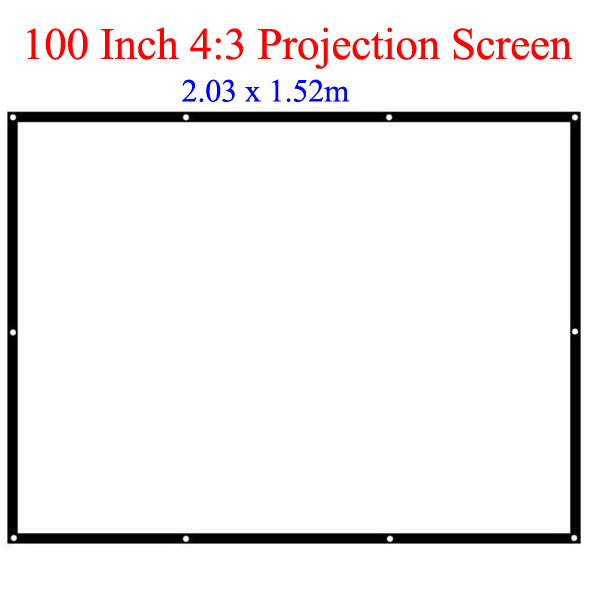 100 Inch 4:3 Best Projection Screen for All Home Theater LCD LED Video Projector