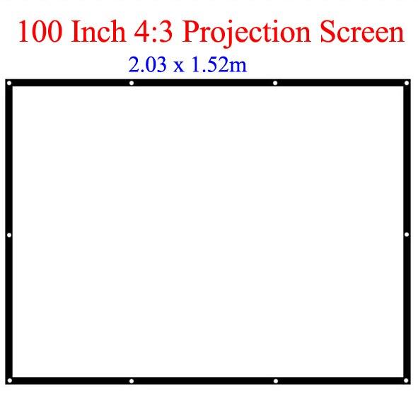 Prix bas meilleure qualité 100 pouces écran de Projection 4:3 écrans de tissu affichage pour vidéo projecteur bureau école fête