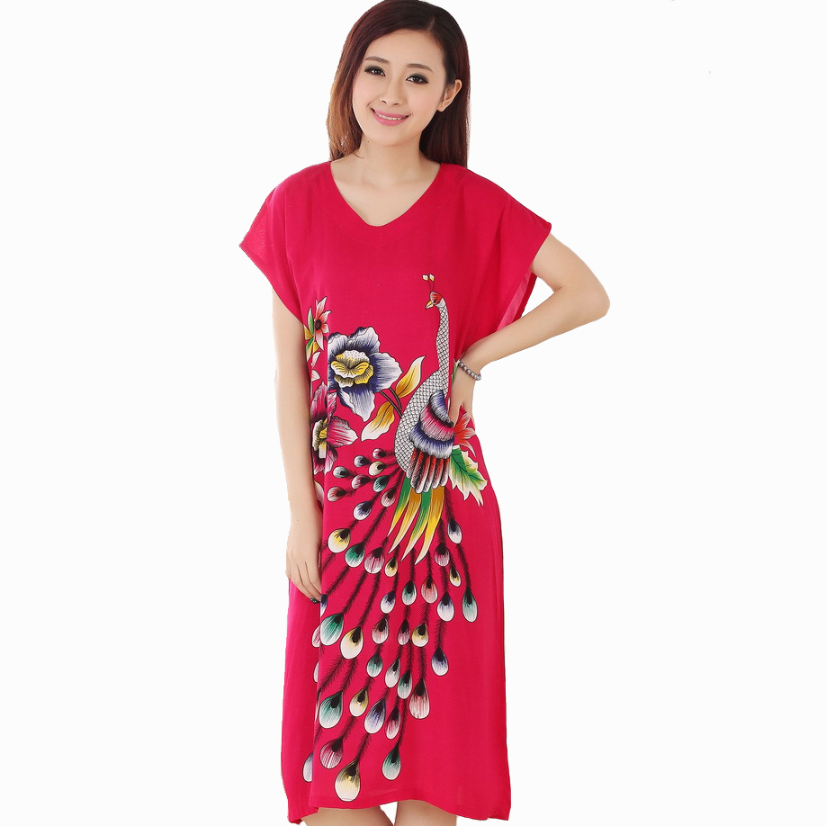New Red Print Peacock Ladies' Summer Home Dress Female Cotton Short Sleeve Robe Nightgown Sleepwear Kaftan Gown One Size A-138