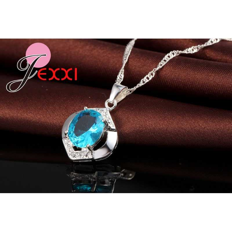 الأكثر مبيعًا كلاسيكي 100% 925 من الفضة الإسترلينية عالية الجودة AAA + CZ لحفلات الزفاف قلادة + أقراط مجموعات مجوهرات زرقاء