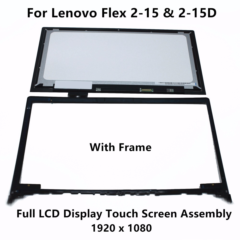 New Genuine Touch Glass Digitizer + LCD Screen Display Assembly + Bezel For Lenovo Flex 2-15 20405 80FK Flex 2-15D 20377 80EF white black original lcd for apple ipad mini 4 lcd display touch screen digitizer glass bezel complete assembly pantalla repair