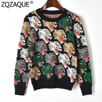 European and American Brand Designer Wolves Head Jacquard Fall Winter Knitwear Women's Fashion Long Sleeve KNIT Sweaters SY1770