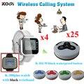 Настольная система вызова для ресторана отличные часы пейджер K-300plus водонепроницаемый зуммер K-H4 (4 шт. пейджер часов + 25 шт. звонок)
